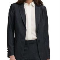 Dkny Womens Blazer Gray Size Xs Dark-Denim Notched-Collar 2-Buttons 129 382 Photo