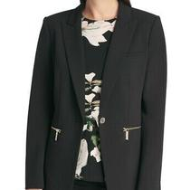 Dkny Womens Blazer Jacket Black Size 12 Notch Lapel Single-Button 129 502 Photo