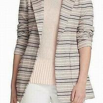 Dkny Womens Blazer Jacket Pink Size 8 Striped Jacquard Open-Front 139 030 Photo