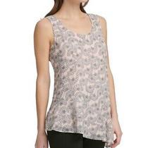Dkny Womens Blouse Blush Pink Size Xs Printed Asymmetrical Scoop Neck 69 172 Photo