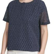 Dkny Womens Blue Size Xl Textured Eyelet  Split Neck Knit Top Blouse 79 231 Photo