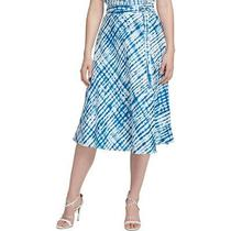 Dkny Womens Blue Tie Dye Casual Midi Wrap Skirt 10 Bhfo 1680 Photo