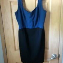Dkny Womens Color Block Black and Blue Sleeveless Sheath Zip Back Dress Size 10 Photo