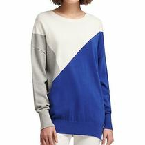Dkny Womens Colorblocked Knit Sweater Blue Large Photo