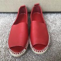 Dkny Womens Cute Red Leather Peep Toe Casual Espadrille Sandals Photo