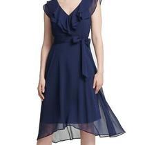 Dkny Womens Dress Blue Size 2 a-Line Flutter Sleeve Tie Waist Ruffle 129- 091 Photo