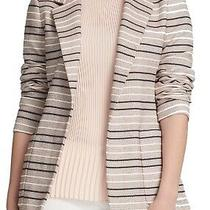 Dkny Womens Jacket Classic Light Beige Size 6 Tweed Striped Jacquard 139 457 Photo