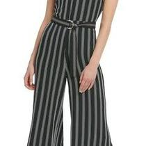 Dkny Womens Jumpsuit Black Size 14 Striped Crop Wide-Leg Slit-Cuff 129- 088 Photo