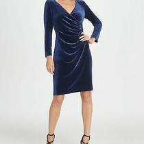Dkny Womens Navy Long Sleeve Above the Knee Body Con Evening Dress Size 14 Photo
