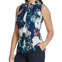 Dkny Womens Navy Pleated Floral Sleeveless Tie Neck Top Size L Photo