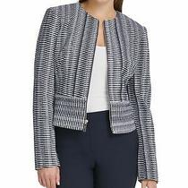 Dkny Womens Navy Printed Zip Up Jacket Size 12 Photo