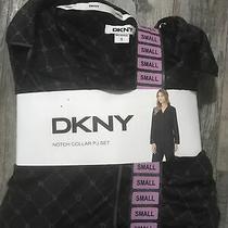Dkny Womens Notch Collar Fleece Pajama Set Black Print Size Small Photo