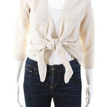 Dkny  Womens Open Front  Cardigan Sweater Cream Wool Size Small Photo