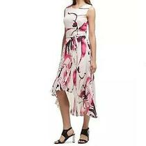Dkny Womens Pink Floral-Print Pleated High-Low Chiffon a-Line Dress Size 12 New Photo