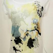Dkny Womens S White Yellow Floral Short Sleeve Scoop Neck High Low Top Shirt Nwt Photo