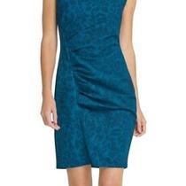 Dkny Womens Sheath Dress Teal Blue Size 14 Animal-Print Boat-Neck 109- 144 Photo