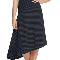 Dkny Womens Skirt Classic Navy Blue Size 6 Asymmetrical Stripe Print 89 198 Photo