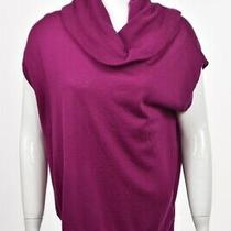 Dkny Womens Sweater Size S Fuchsia Purple Cowl Neck Wool Short Sleeve Top Photo