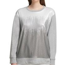 Dkny Womens Sweatshirt Gray Size Small S Crewneck Sequin Embellished 79 380 Photo