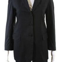 Dkny  Womens Three Button Pinstripe  Print Blazer Black Size 2 Photo