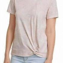Dkny Womens Top Blush Pink Size Xl Camo Twist-Hem Knit Crewneck Tee 49 414 Photo