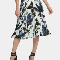 Dkny Womens White Size 6 Floral Printed Pleated Chiffon a-Line Skirt 89 486 Photo