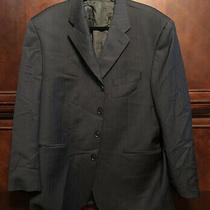 Dkny Wool 48r Solid Blue Stripe Inlay Jacket Blazer Single-Breasted 4-Button Photo