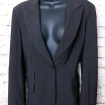 Dkny Wool Jacket Blazer Long Sleeve Women 12 Single Button Lined Dark Brown 139 Photo