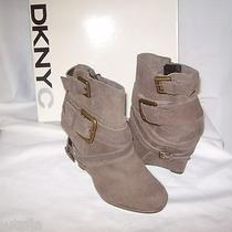 Dknyc Parker New Womens Brown Suede Distressed Boots Wedges Shoes 6.5 M Ankle Photo