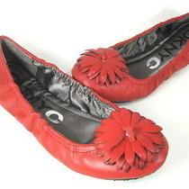 Dknyc Women's Camelia Ballet Flat Red Flower Leather Us Size 6 Medium (B m) New Photo