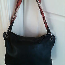 Dnky Black Leather Handbag With Mulicolor Leather Strap Photo