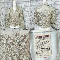 Doki Geki Womens Blazer Gold Brocade 2 Button Front Lined Size Guess Small Photo