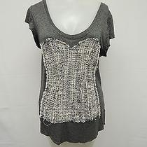 Dolan Gray Corset Knitted Applique Raw Hem Blouse Sz L Photo