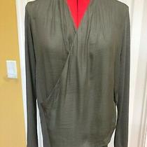 Dolan Left Coast Coll. Brown Rayon Knit Long Sleeve Crossover Top Medium Photo
