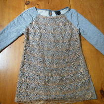 Dolan Medium M Fun Fleck Sweatshirt W/metallic Lace Overlay Photo