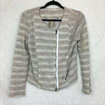 Dolan Size S Anthropologie Kinney Sweater Jacket Textured Moto Zip E28 Photo