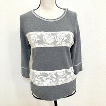 Dolan T-Shirt Women's Knit 3/4 Sleeve Sweater Top Sz Small S Gray White Lace Photo