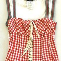 Dolce and Gabbana Red and White Checkers Corset Bustier Photo