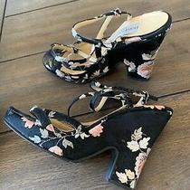 Dolce Gabanna Black Floral Wedge Heel Runway 96 Size 38  Photo