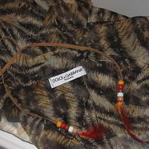 dolce&gabanna Foulards Italy Brown Black Animal Scarf Wrap Feather Beaded  Photo