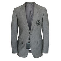Dolce & Gabbana 1875 Gray Linen Monogram Crest Logo Blazer Jacket 48/38 New Photo