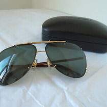 Dolce & Gabbana Aviator Sunglasses Dg2102 L Gold Metal Frame Dark Green Shade Photo