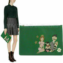 Dolce & Gabbana Bag Family Patch Green Leather Clutch Zippered Photo