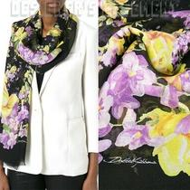 Dolce & Gabbana Black Cashmere Yellow Roses & Purple Violets Shawl Nwt Auth 950 Photo