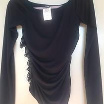 Dolce & Gabbana Black Silk With Side Ruffles L/s Top 30/44 Italian Designer Photo