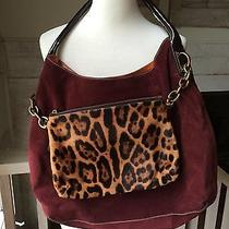 Dolce & Gabbana d&g Miss Savvy Burgundy Suede Hobo Tote W Leopard Pouch Euc Photo