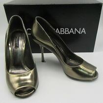 Dolce & Gabbana Dark Gold Leather Peep Toe Pumps Size 38 Photo