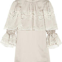 Dolce & Gabbana Duchess Lace-Trimmed Silk-Satin Baroque Top Blouse Photo