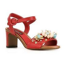 Dolce & Gabbana Embellished Red Women Sandals Size 38 Photo