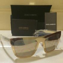 Dolce Gabbana Gold Edition 2114k 1027f9 Gold Plated/ Mirror Sunglasses Photo